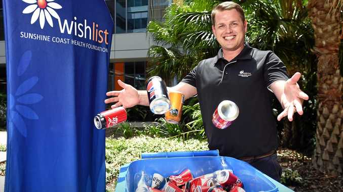 NEW INITIATIVE: Wishlist philanthropy manager Hans De Koning has taken up the Cash for Containers Initiative. Businesses, organisation and individuals are donating containers to Wishlist at the Sunshine Coast University Hospital.