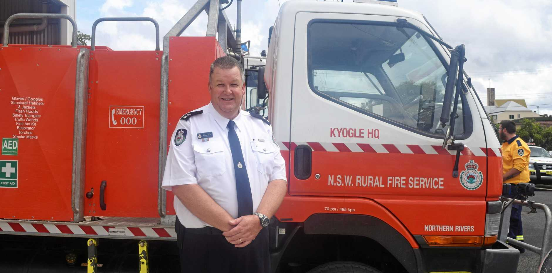 NOT YOUR AVERAGE FIRE SHED: Superintendent Michael Brett officially opens the Kyogle rural fire brigade station.