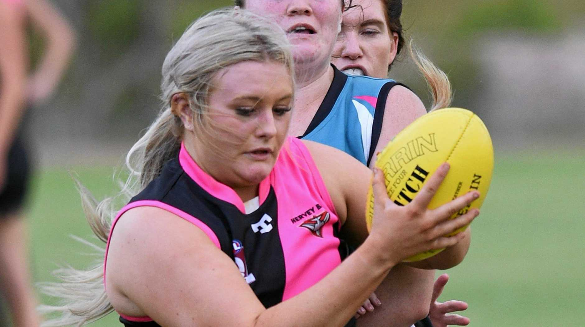 MARK: Hervey Bay Bombers player Jade King during the first round of the women's AFL season against Bay Power.