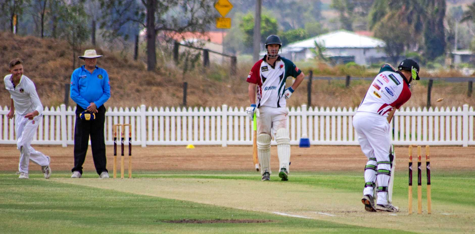OUT: Glenore Grove dismisses a Southern Lockyer batsman at Ropehill Cricket Ground.