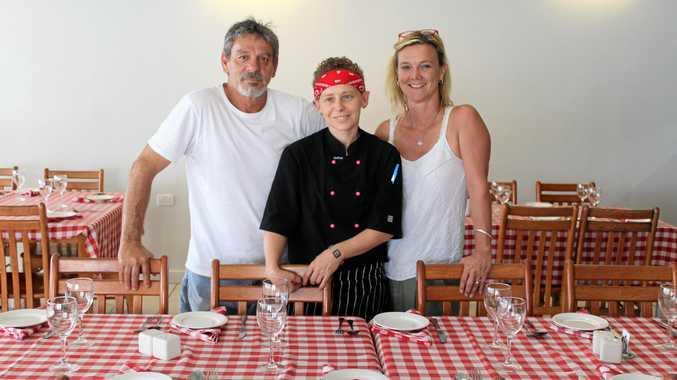 ITALIAN EXPERIENCE: Owner of Little Antonio's Kitchen Claude DeBonis, Head Chef Casey Dobson and Deb Layton inside the Bucasia restaurant.