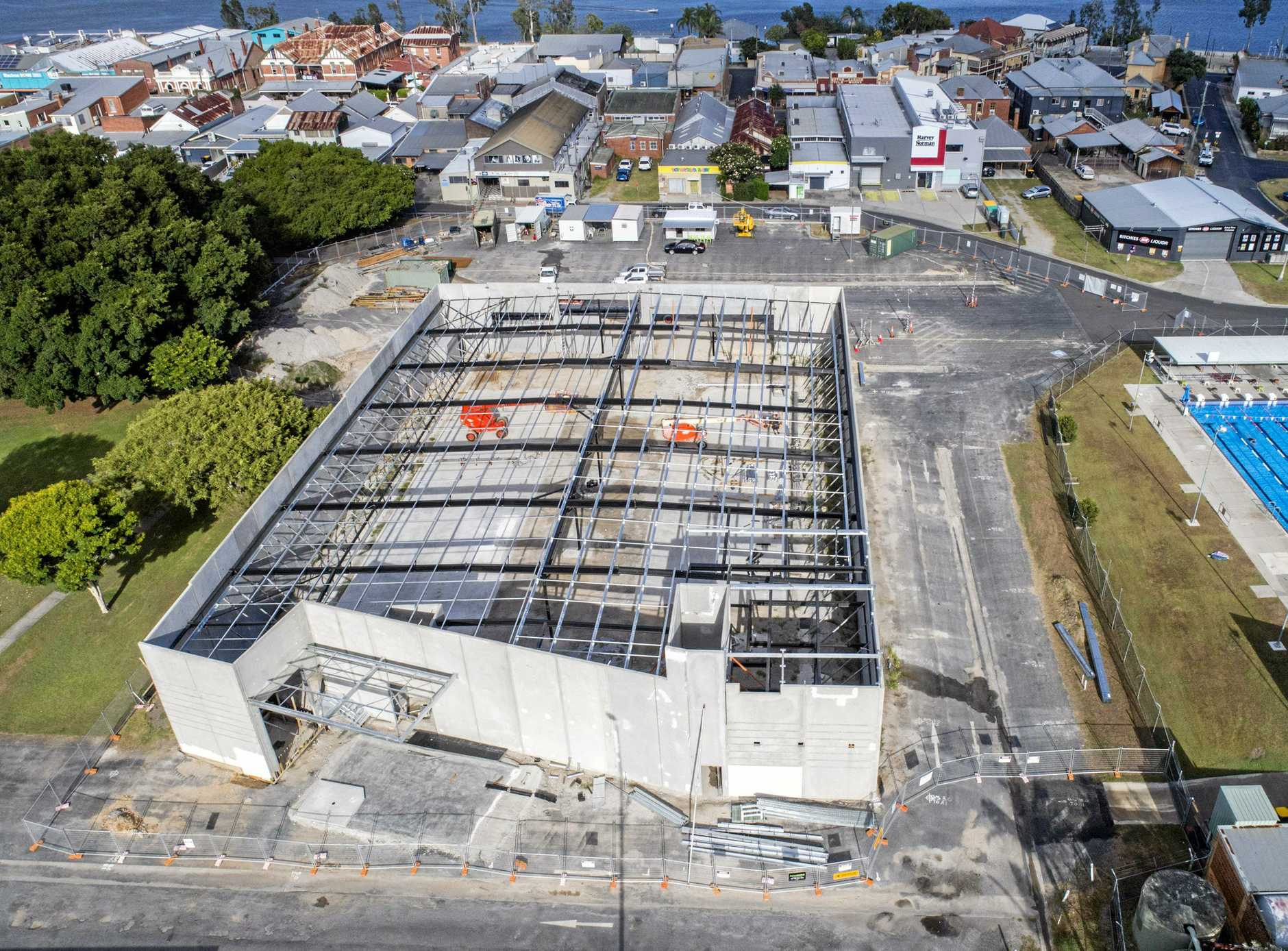 GOING UP: An aerial view of the construction works to build Maclean's IGA supermarket.