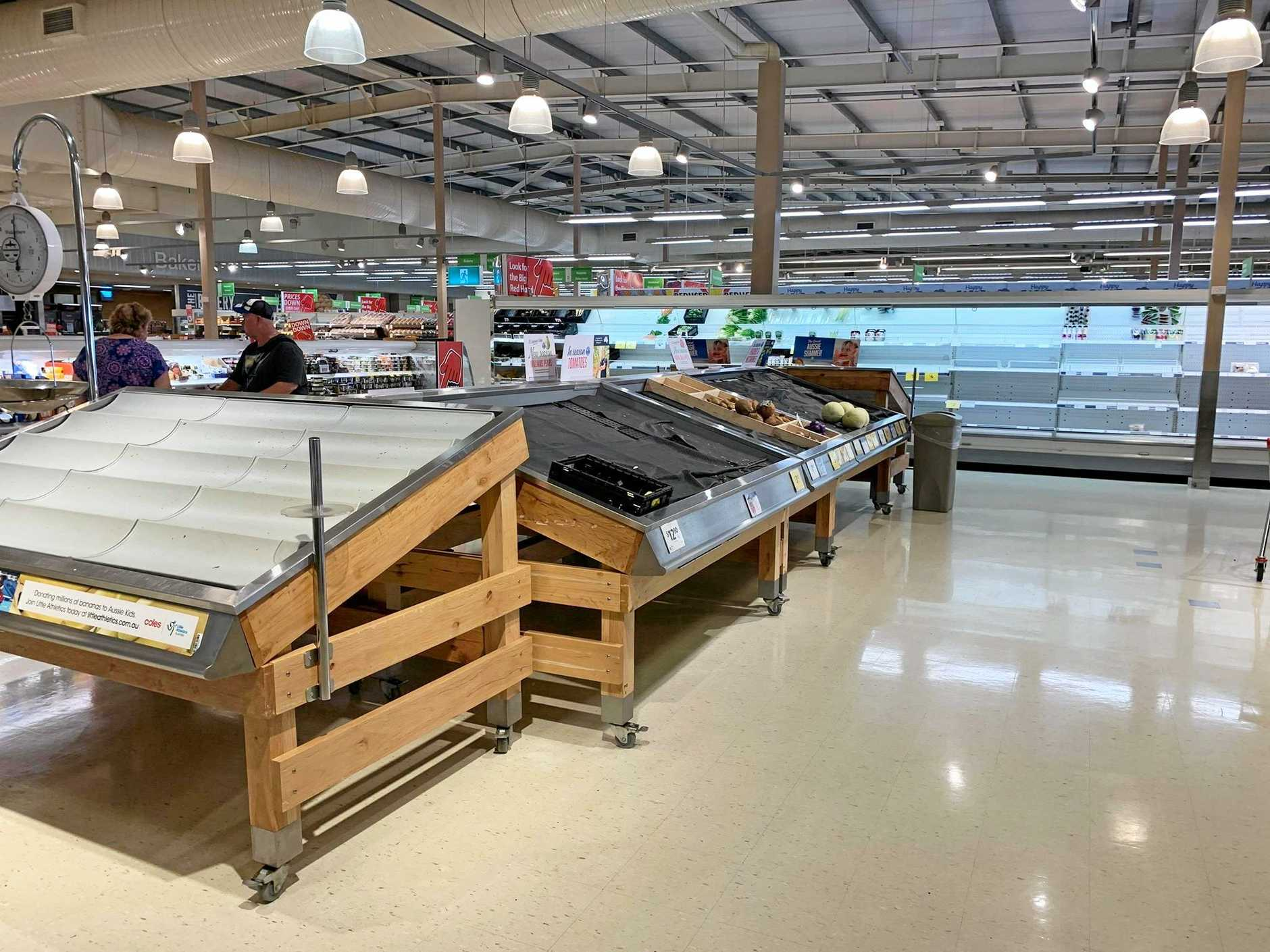 Empty shelves at Coles Northern Beaches.