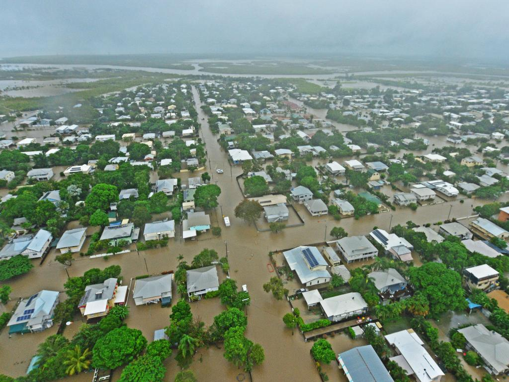 Townsville floods. Aerial damage of Railway Estate from a helicopter. Picture: Zak Simmonds