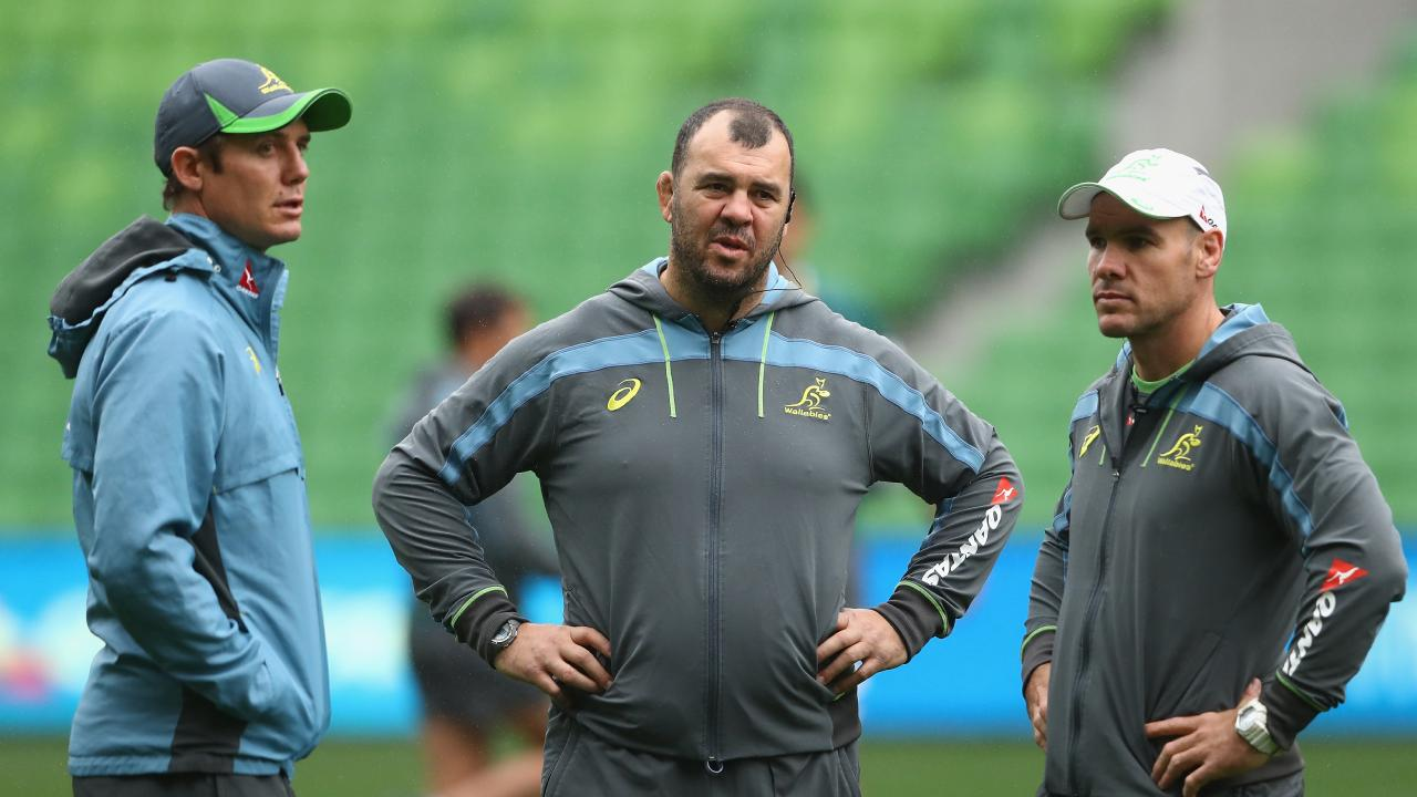 Wallabies coach Michael Cheika has let go of his backs coach Stephen Larkham.