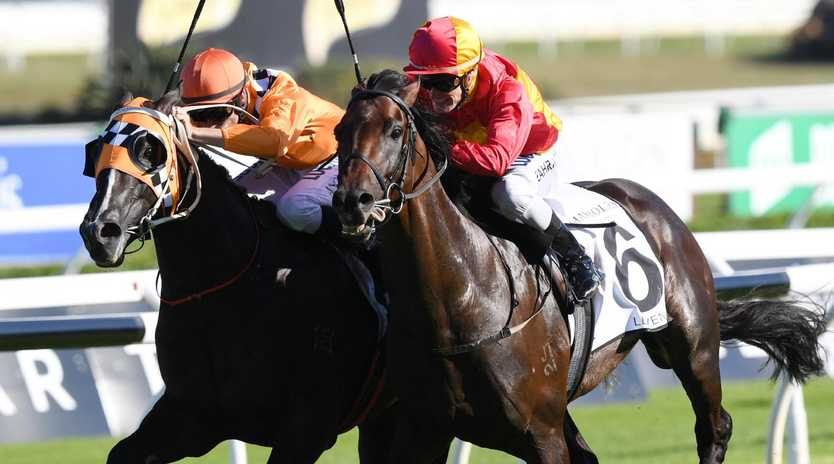 Levendi holds off Ace High to win the Australian Derby last year. Picture: AAP