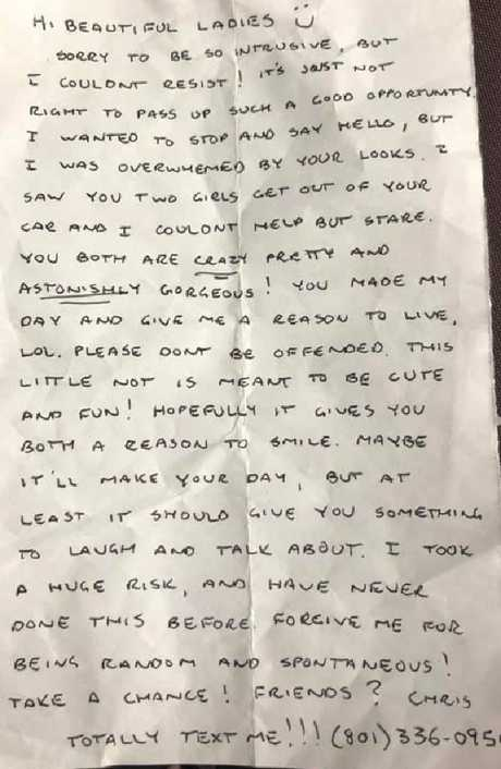 """The note begs the recipient not to be offended and says he """"never does this"""". Picture: Facebook"""
