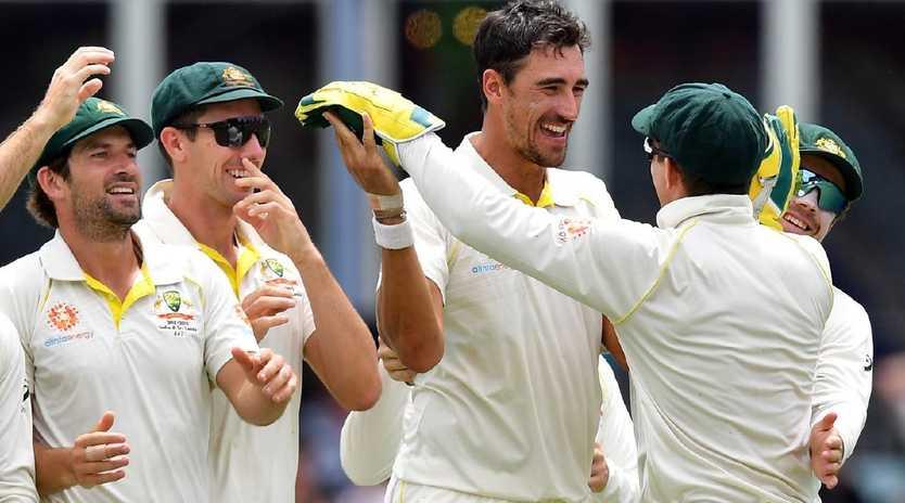 Mitchell Starc and Australia celebrate their series win over Sri Lanka. Saeed Khan/ AFP