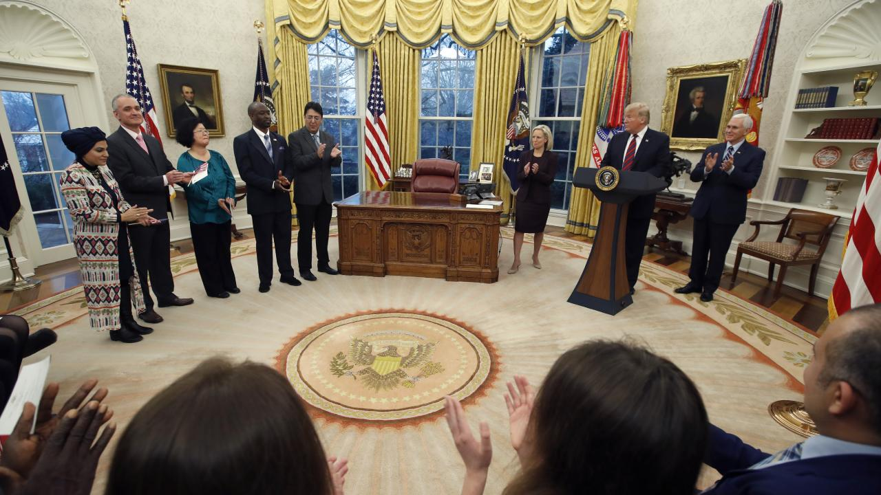 President Donald Trump during an event in the Oval Office of the White House. Picture: Alex Brandon/AP