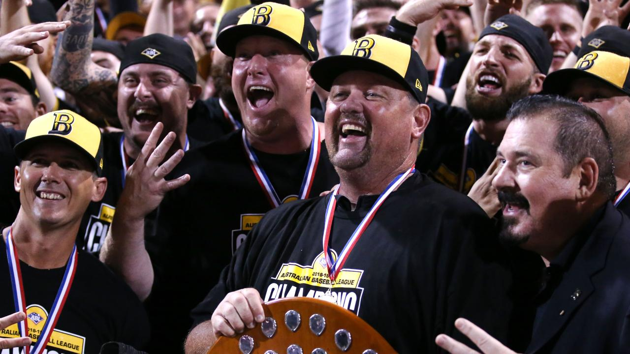 David Nilsson celebrates the Bandits' fourth straight championship. Picture: SMPIMAGES.COM/ABL Media.