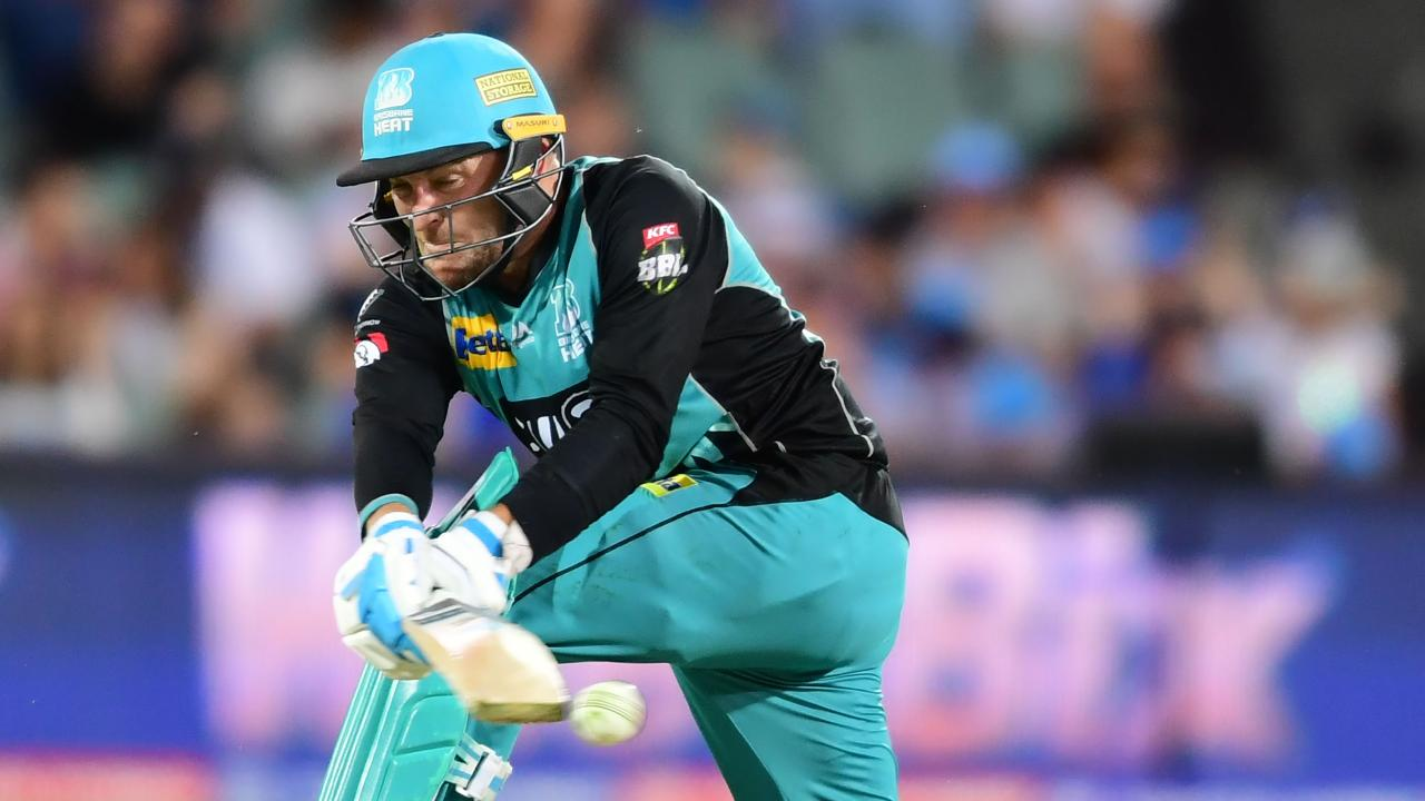 ADELAIDE, AUSTRALIA - FEBRUARY 03: Brendon McCullum of the Heat bats during the Big Bash League match between the Adelaide Strikers and the Brisbane Heat at Adelaide Oval on February 03, 2019 in Adelaide, Australia. (Photo by Mark Brake/Getty Images)