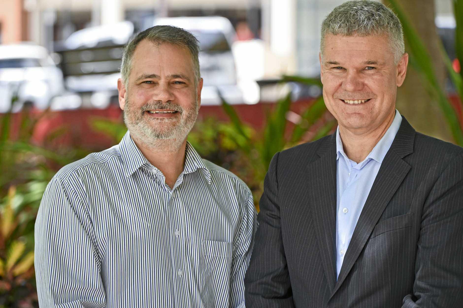 Ipswich Administrator Greg Chemello with new CEO David Farmer.