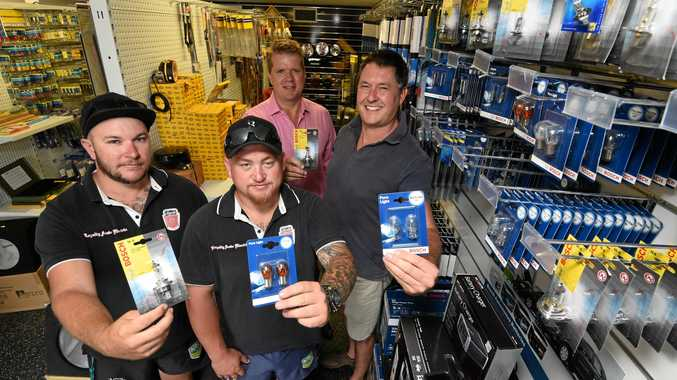 HAVE A CHAT: Hoping to bring some light to blokes' lives are Fraser Coast Mates president Darren Bosley (back), Ozautoelectric's Andrew Trevaskis (far right) and Simon Menchin-Smith, and Todd Sendall from Loyalty Auto Electrix.