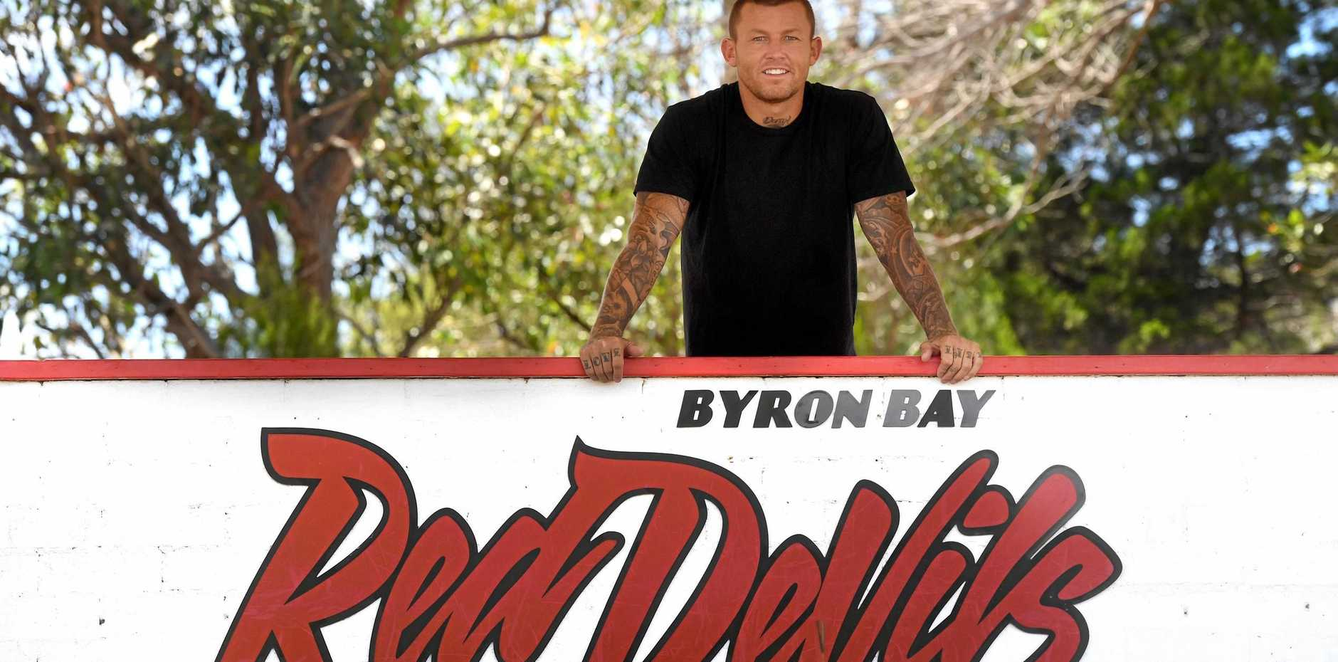 Todd Carney in Byron Bay after taking up captain-coach for Byron Bay Red Devils in the Northern Rivers Regional Rugby League this season.