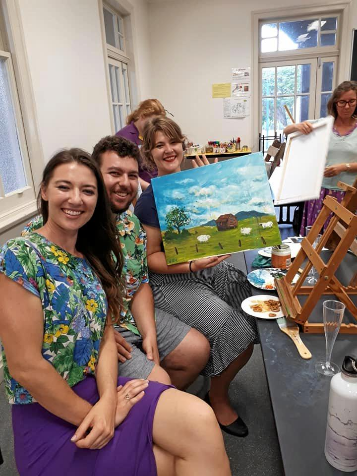 Vanessa Allegra Christi, Bernard Dolinski and Melissa Christi at the Sip and Paint event at Gayndah Art Gallery.