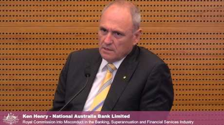 National Australia Bank chairman Ken Henry gives evidence at the Banking Royal Commission.