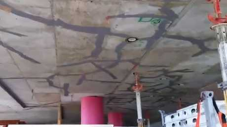 The alarming footage shows extensive cracking across the concrete slab patched with filler.