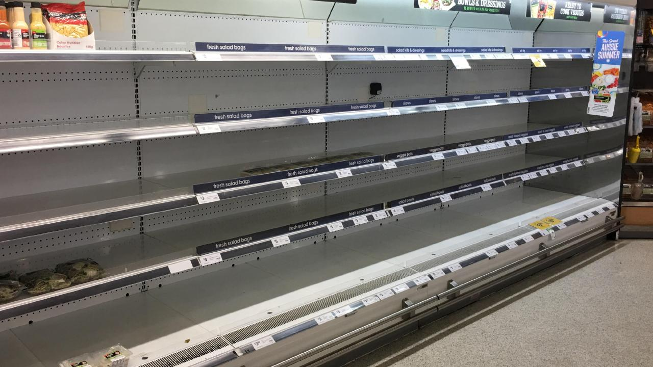 The salad bar at the Coles supermarket in Port Douglas is completely empty. Picture:  Mark Murray