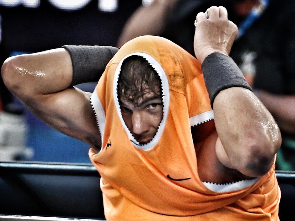 Rafael Nadal vs Stefanos Tsitsipas in the men's semi. Picture: Michael Klein