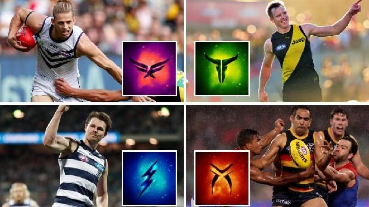 The AFL has unveiled AFLX team logos for Nat Fyfe, Jack Riewoldt, Patrick Dangerfield and Eddie Betts.