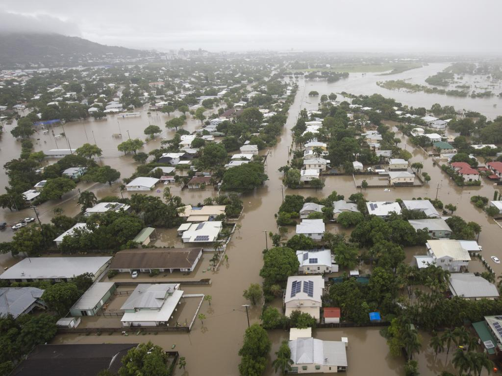 Houses are inundated with flood waters in Townsville. Picture: Dave Acree/AAP.