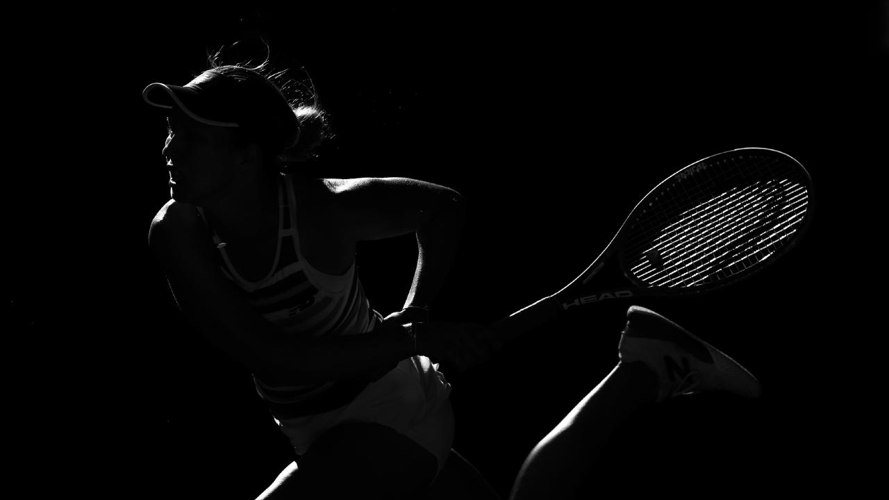 Danielle Collins serves up at the Australian Open. Picture: Michael Klein