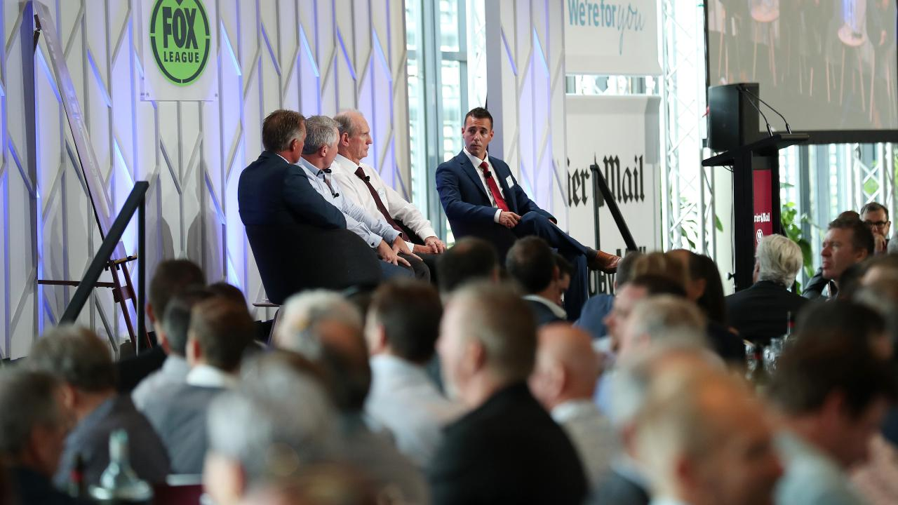 Garth Brennan, Paul Green and Wayne Bennett face off with Peter Badel at last year's launch. Picture: Liam Kidston