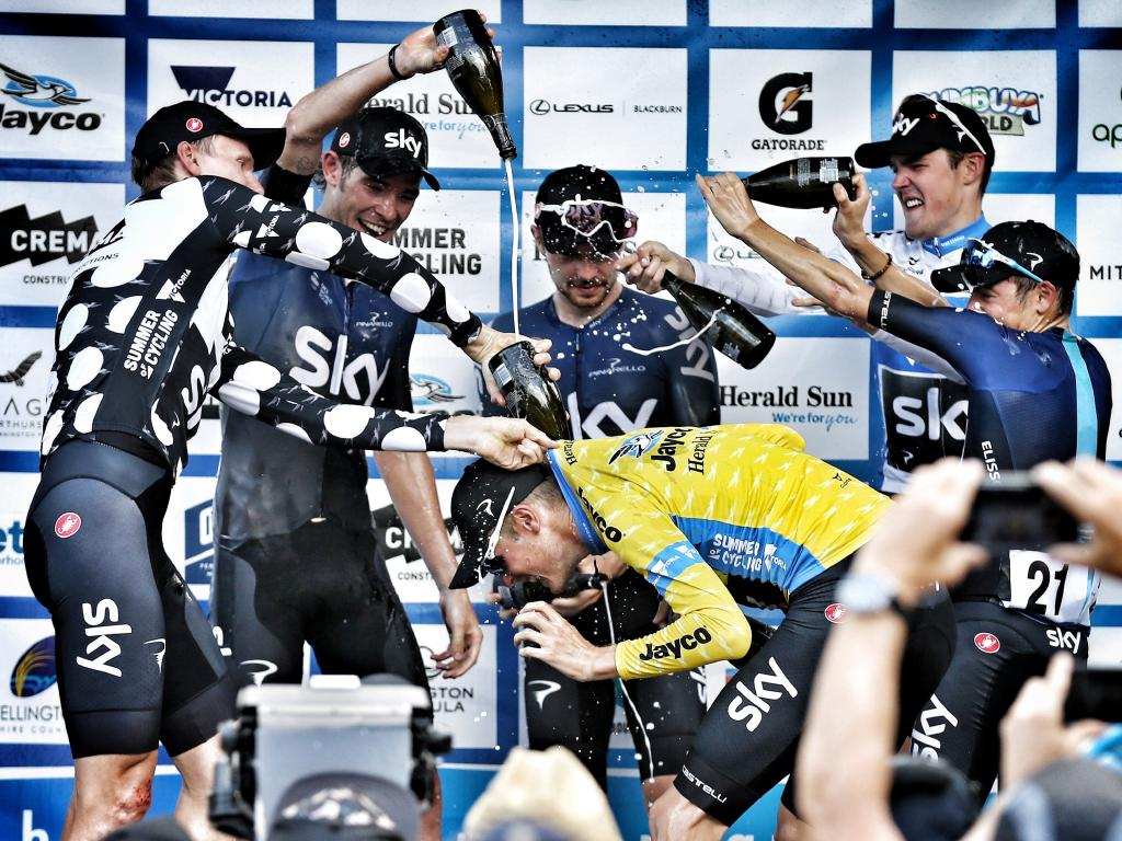 Team Sky celebrate their Herald Sun Tour victory. Picture: Michael Klein