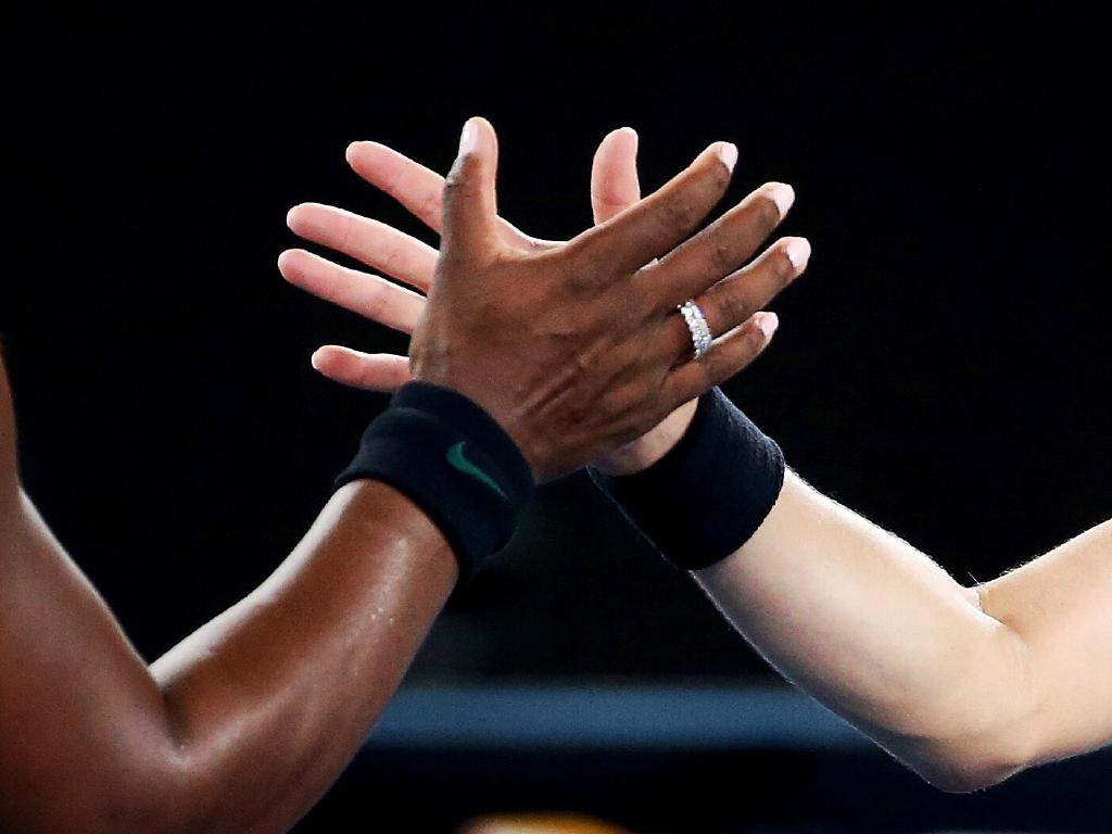Serena Williams and Eugenie Bouchard at the net. Picture: Michael Klein