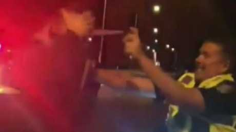 Police deployed capsicum spray before arresting the man. Picture: 9 News