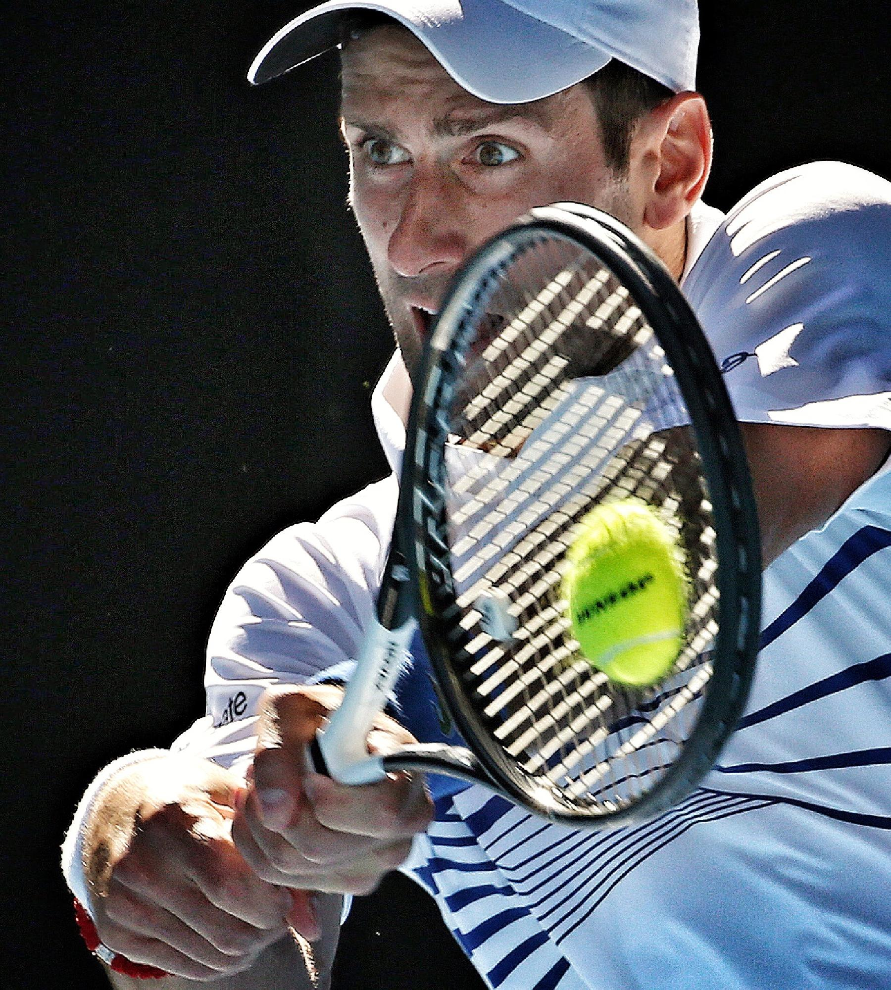 Novak Djokovic has only eyes for the ball. Picture: Michael Klein