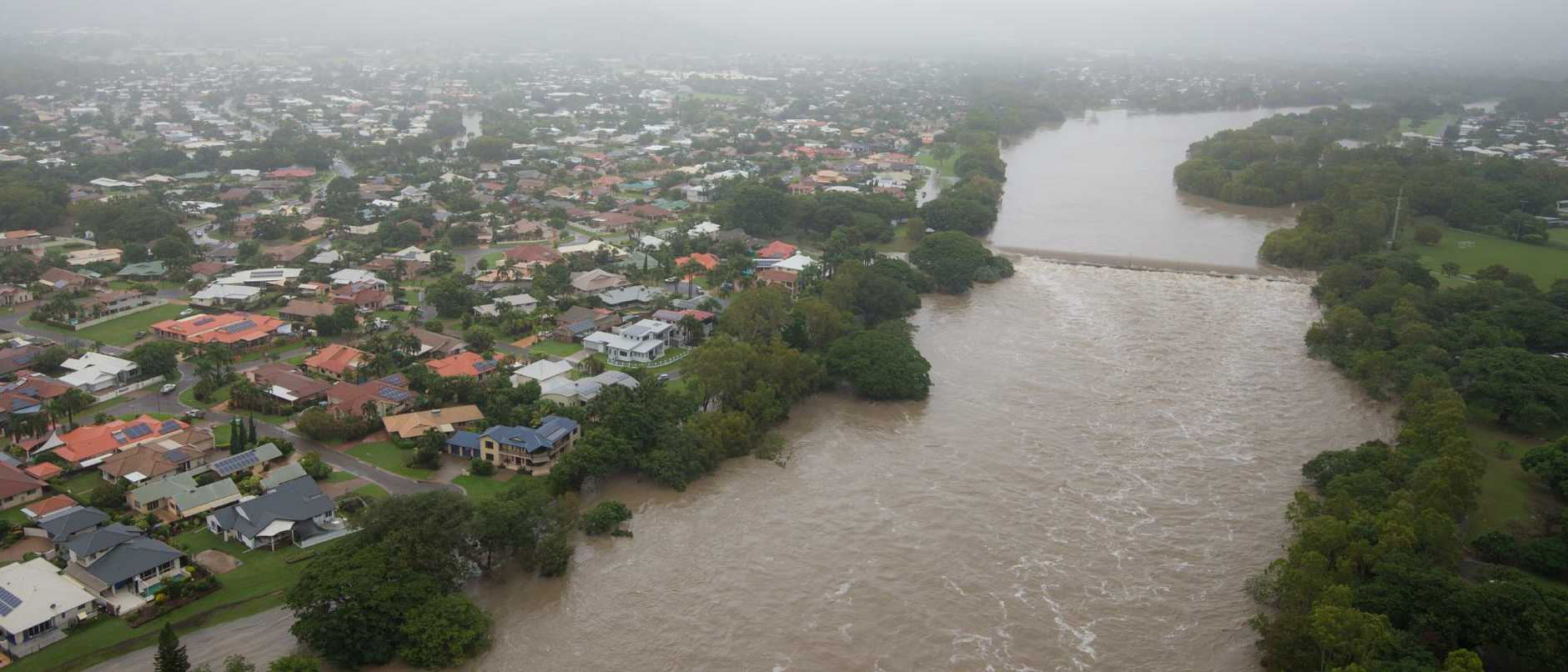 The flooded Ross River is seen in Annandale, North Queensland on Monday. Picture: Dave Acree/AAP.