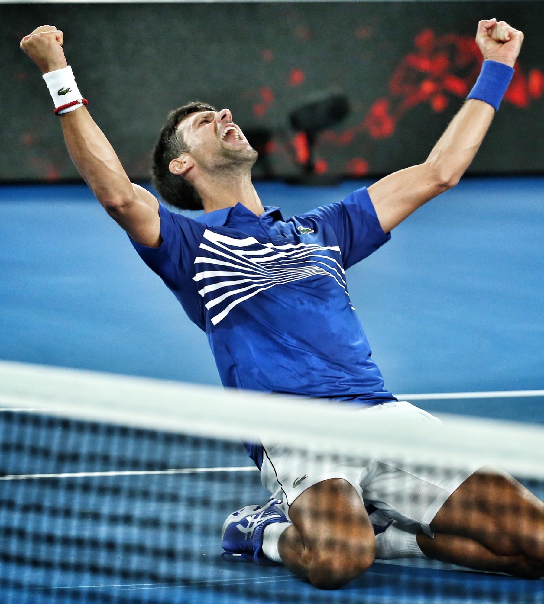 Novak Djokovic defeats Radal Nadal to win the men's title. Picture: Michael Klein