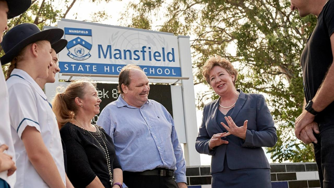 Member for Mansfield Corrine McMillan at Mansfield State High School.