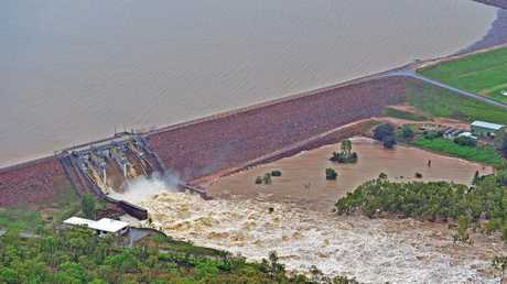 Townsville floods. Ross River Dam from a helicopter. Picture: Zak Simmonds