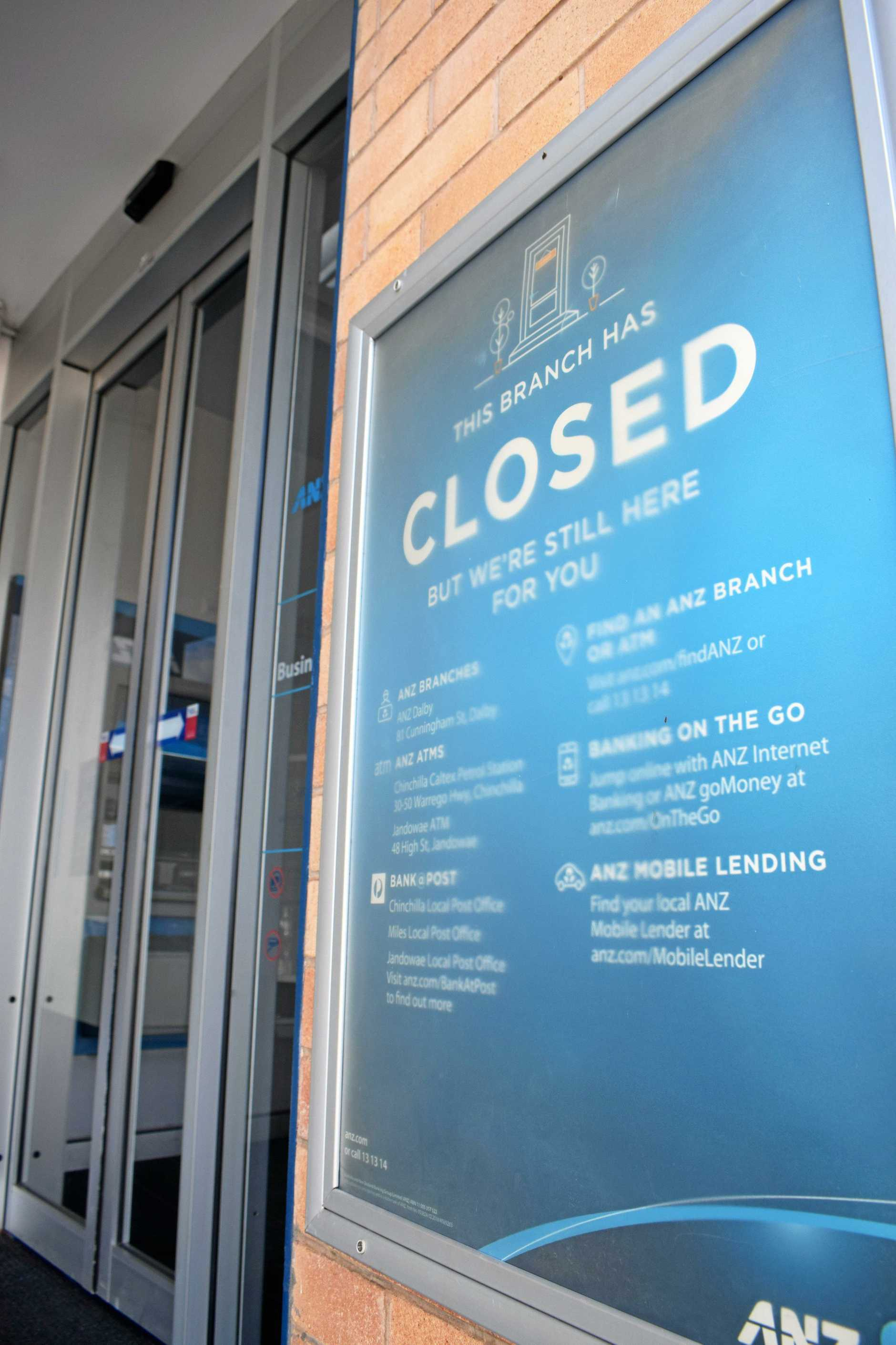 CLOSED: THe Chinchilla ANZ Bank branch closed a year ago.
