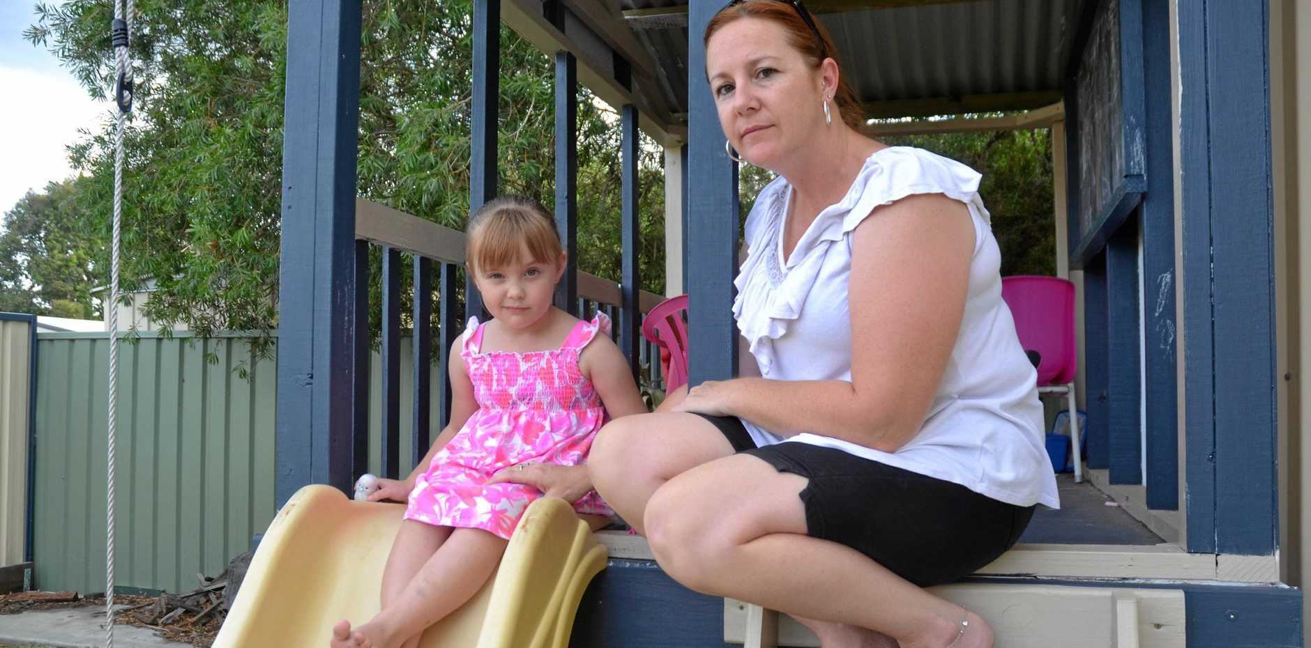 LET DOWN: Chinchilla mother Bec Huth, pictured with daughter Indiya, says many families are running out of options when it comes to after hours care in town.