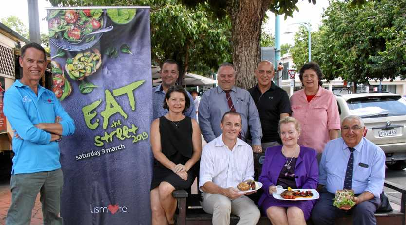 COMING UP: The fifth Eat the Street on March 9  is expected to be a massive success. (Back from left) acting city centre manager Andrew Walker, Lismore Workers Club chef Philip McLoughlin, LWC group catering manager Dominic D'agostino, Cr Gianpiero Battista, Cr Darlene Cook, (front from left) Southern Cross University's Myeka Page, Lismore Mayor Isaac Smith, Lismore City Council general manager Shelley Oldham and Lismore MP Thomas George.