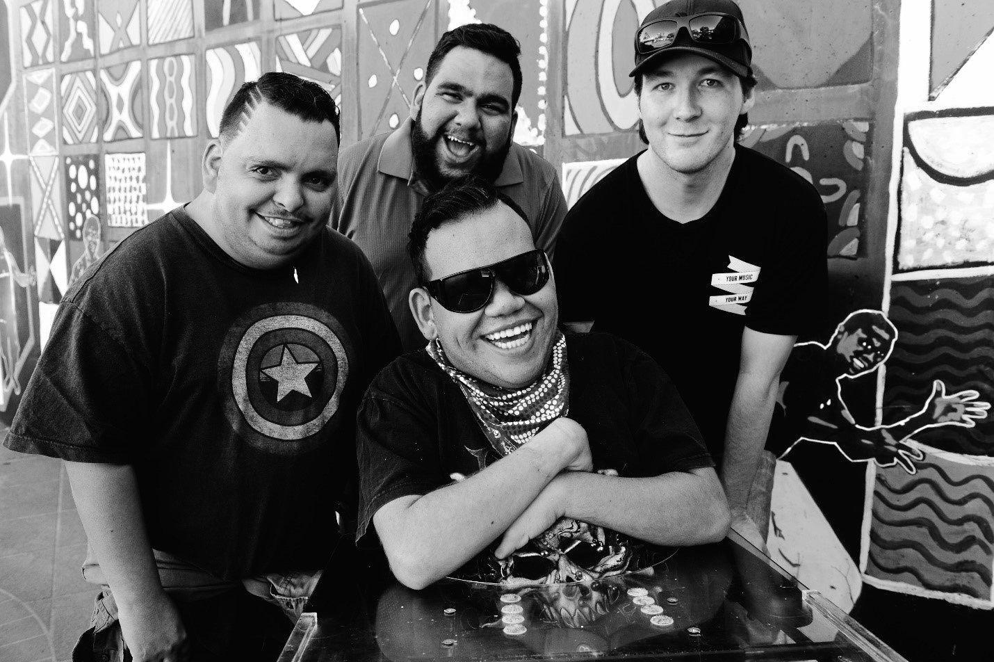 BAND: From left,  some of the members of the Brotherhood of the Blues are Yawuru man John Cieslak lives with Robinow Syndrome, Bundjalung man Zac Paden lives with hemiplegic cerebral palsy, Bundjalung man Luke Murray  lives with Cerebral Palsy, and Lismore's Harley Bodenham lives with Autism.