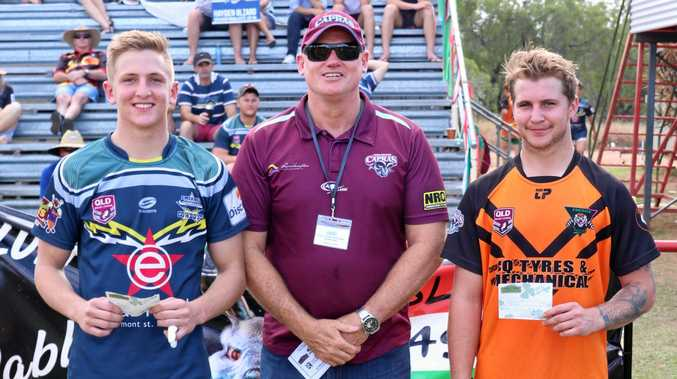 GOOD GAME: Under 20 players of 2018 Harrison McIndoe and Sam Cronk with CQ Capras CEO Peter White (middle).