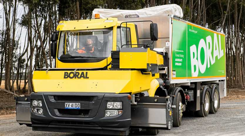 SAFETY FIRST: Boral's new IVECO Stralis-based Forward Moving Aggregate Spreader delivers considerable safety and efficiency gains for the industry.