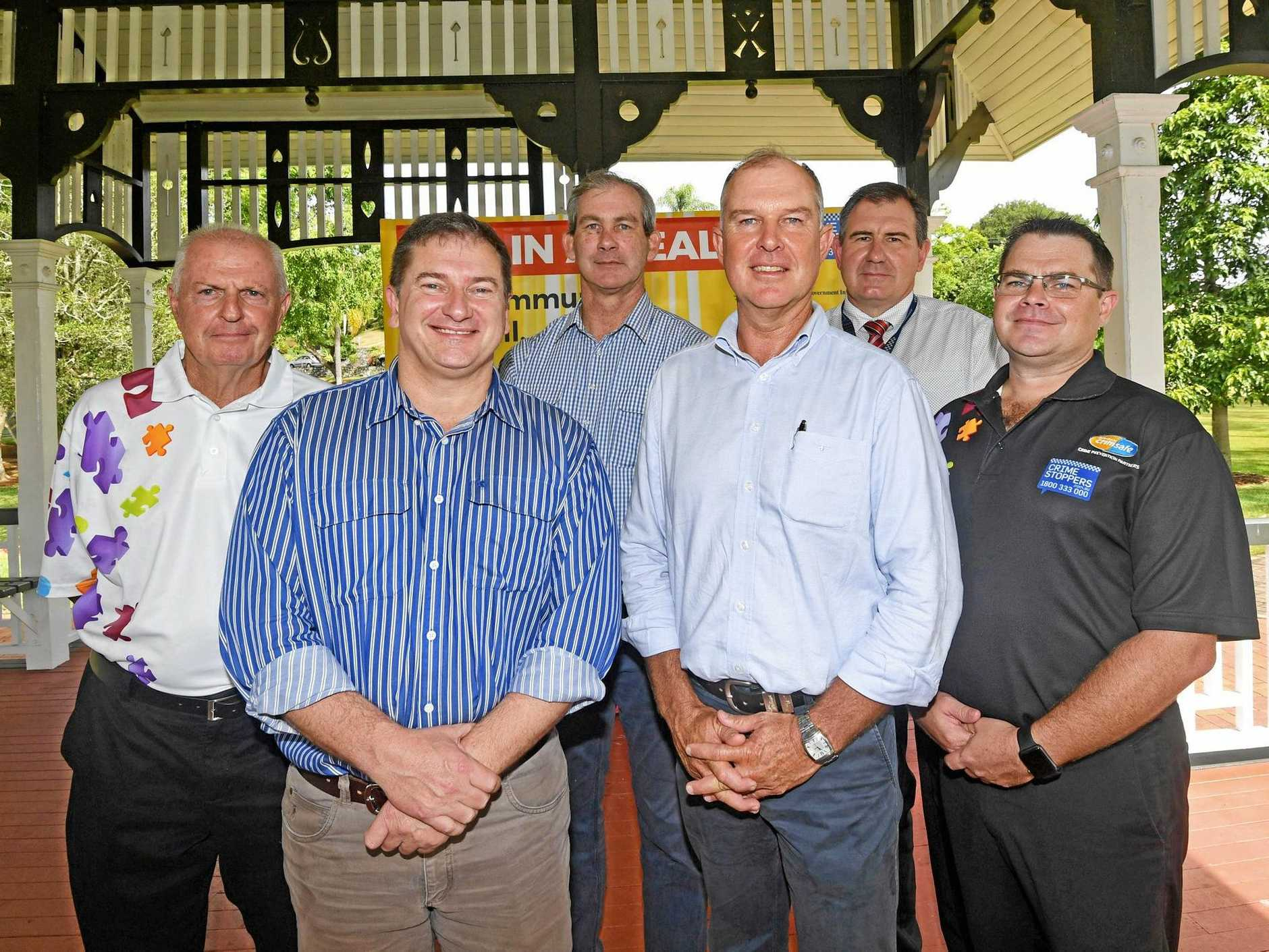 LAUNCH: (Back from left) Crime Stoppers' Ken Condon, Mayor Mick Curran, Det Sgt Rob Lowry, (front) MPs Llew O'Brien and Tony Perrett and Crime Stoppers Qld general manager Jonathon Cowley at the Gympie launch of the national Dob in a Dealer campaign yesterday.