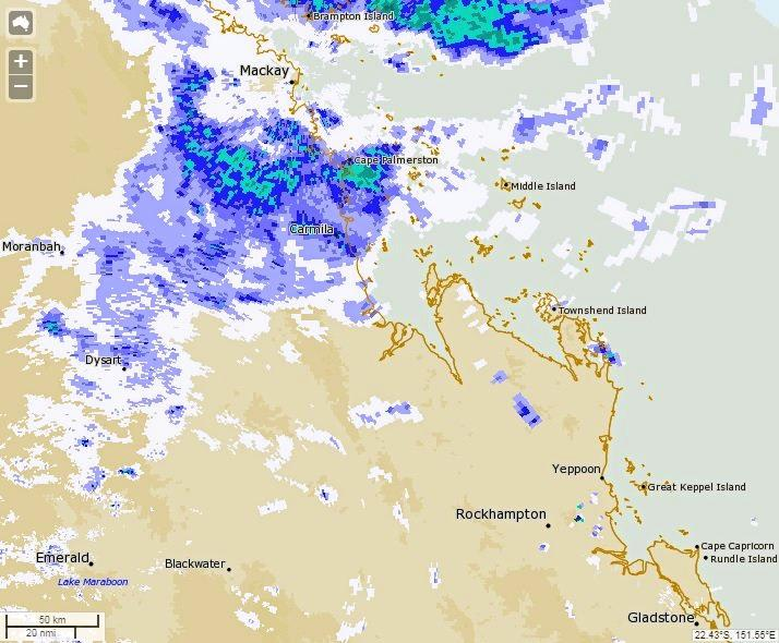 The Bureau of Meteorology's current rainfall chart for Central Queensland.