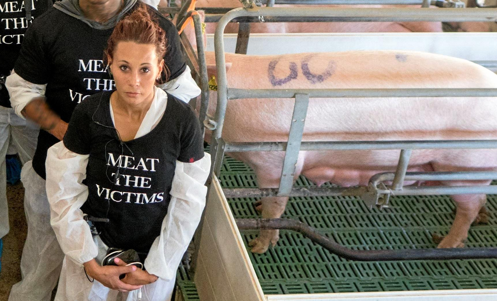 Leah Ava Whetten was charged with trespassing onto Glasshouse Country Farm. She is pictured at the Beerburrum business in a separate protest on December last year, which was not the subject of her charge.