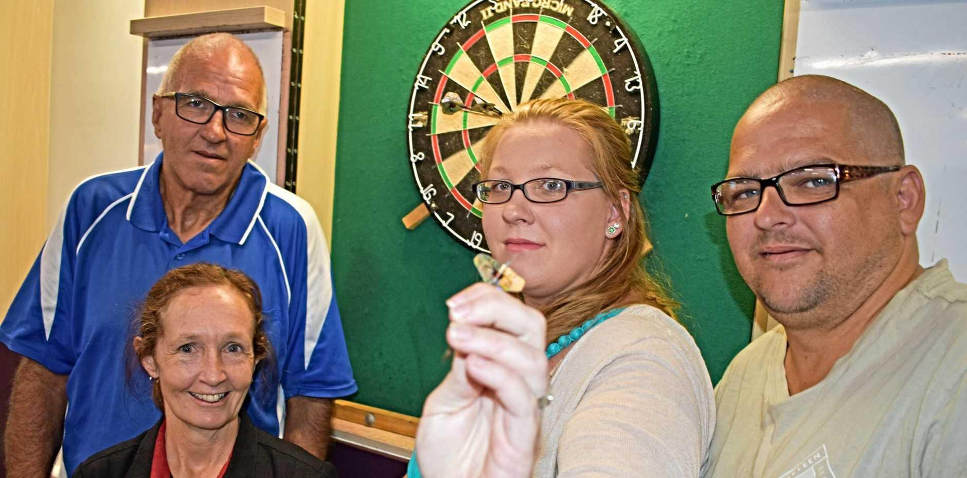 READY FOR ACTION: Darts president Wayne Kliendienst with Stanthorpe RSL's Tina Rays, darts secretary Rachel Fromm and player John Kliendienst.