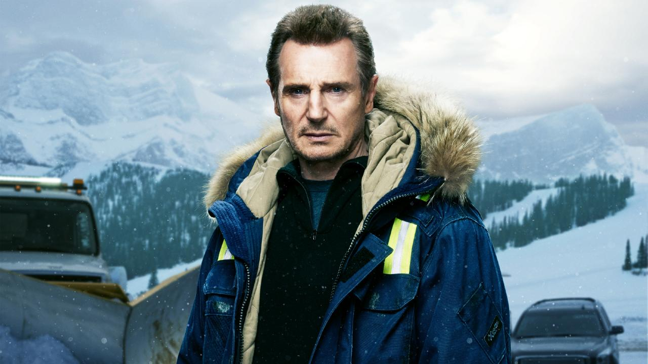 Liam Neeson gives his best don't-you-mess-with-me stare in Cold Pursuit.