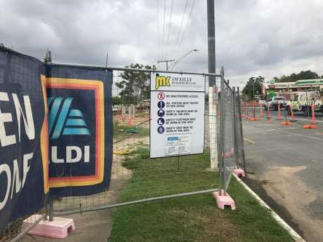 The Aldi site after tradespeople walked off the job. Picture: Shayla Bulloch