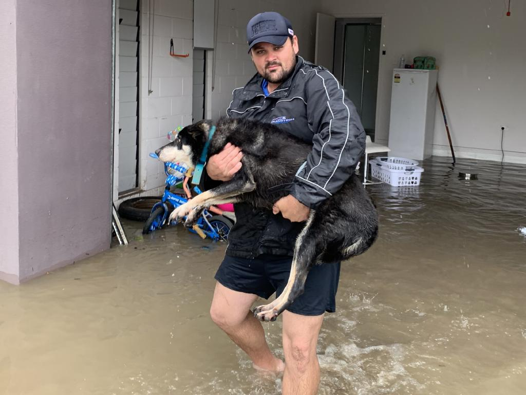 Joel Harris helped a group of good Samaritans save over a dozen animals from flooded Townsville homes. Picture: Supplied