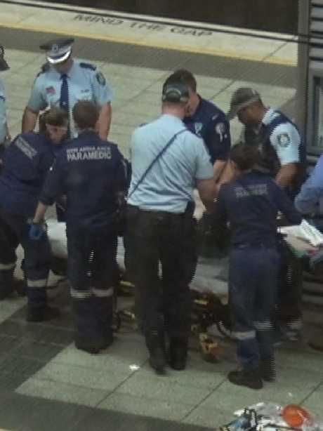 Emergency crews attend to Callum Brosnan.