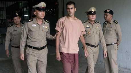 Hakeem al-Araibi leaves the criminal court in Bangkok. Picture: AP